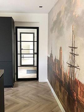 Vliesbehang van een schilderij van een Oude Meester in de keuken