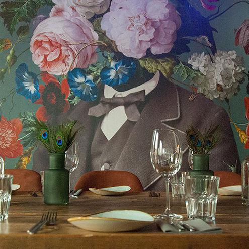 Behang restaurant van bloemen