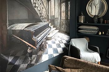Foto van een verlaten plek urbex op behang in de woonkamer