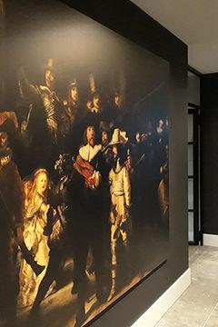 de Nachtwacht van Rembrandt schilderij op aluminium dibond