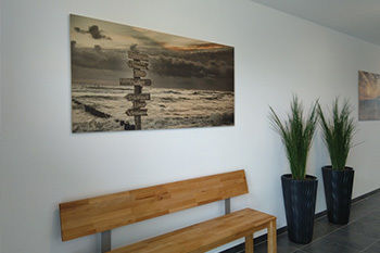 Strand foto geprint op hout als wanddecoratie