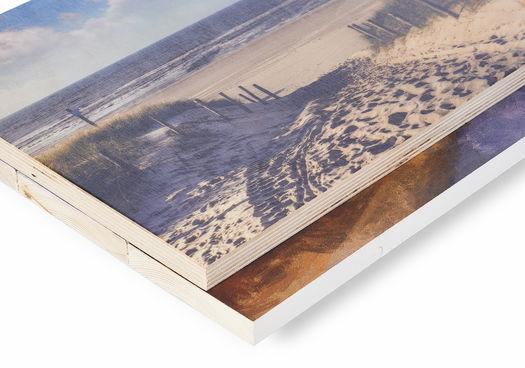Print op hout van Werk aan de Muur hoek