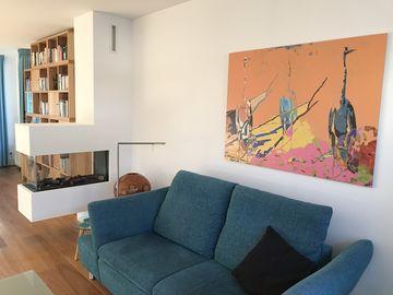 Schilderij op aluminium dibond in de woonkamer