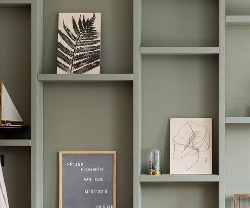 Mix van houtprints als wanddecoratie gezien bij vtwonen Weer Verliefd op je Huis