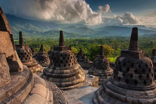 Foto van Borobudur tempel als wanddecoratie