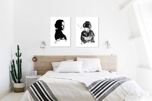 Werk Aan De Muur Aziatische Kunst 506721 Zwart Licht Philippe Imbert 506830 Boeggeisha Philippe Imbert
