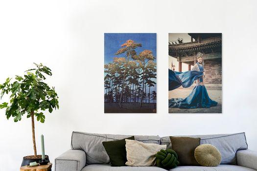 Werk Aan De Muur Aziatische Kunst 273947 Hoge Bomen Tegen Een Blauwe Lucht Hikawa Park In Omiya Japan Kawase Hasui 1930 Roger Vdb 402583 Chinese Vrouw In Jurk Geja Kuiken