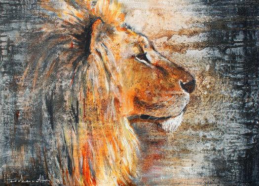 Kunstwerk leeuw schilderij van Werk aan de Muur