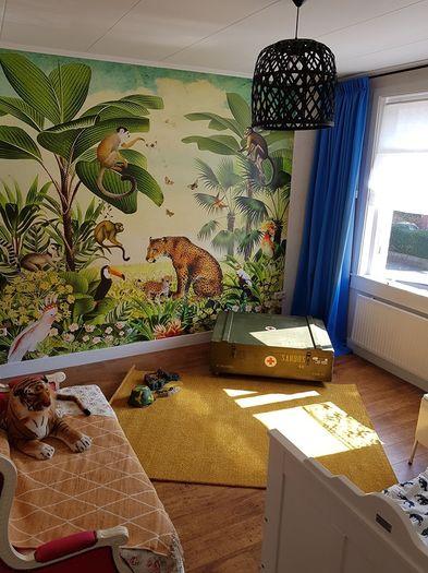 Werkaandemuur Urbanjungle Klantfoto Jungle Met Luipaard Apen Toekan En Tropische Vogels Van Studio Poppy 447322 Copy