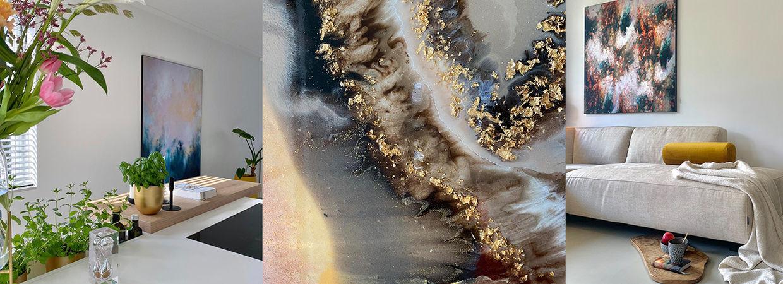 Binnenkijken in het huis van Laura met abstracte kunst