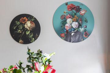 Rond kunstwerk combinatie Werk aan de Muur bloemen
