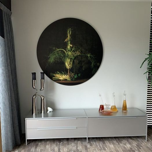 Rond kunstwerk modern stilleven Werk aan de Muur