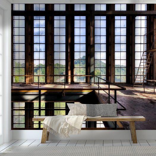 Indigo Loft Raampartij symmetrie een vervallen fabriek van Sven van der Kooi behang 114777 Werk aan de Muur