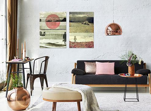 Tweeluik posters db waterman woonkamer Werk aan de Muur
