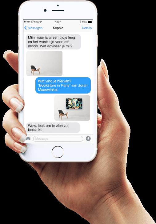 iPhone conversatie met stylist van Werk aan de Muur